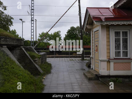 Railway station with bunker in the former closed town of Paldiski, Estonia - near the site of a Russian Nuclear - Stock Photo