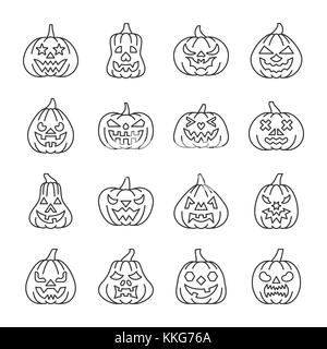 Halloween pumpkin with carving face thin line icon set. Vector linear symbol pack. Outline sign without fill. Editable - Stock Photo