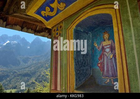 Church fresco 'Triglav National Park'. Julian Alps. Near Kranjska Gora. Slovenia. - Stock Photo