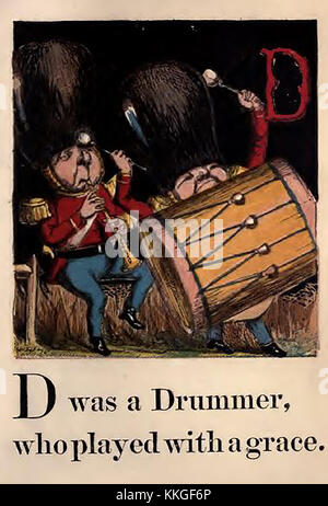 An historic  coloured Victorian children's ABC book illustration .- D is for drummer showing military bandsmen wearing - Stock Photo