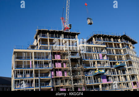high rise construction site, norwich, norfolk, england - Stock Photo