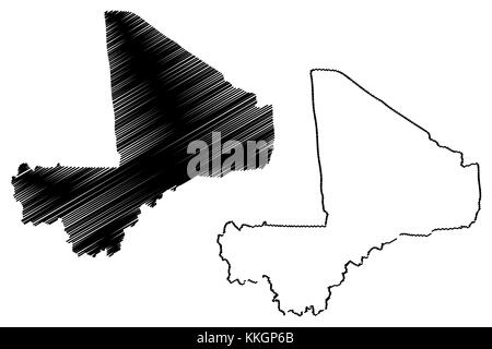 Mali map vector illustration, scribble sketch Republic of Mali - Stock Photo