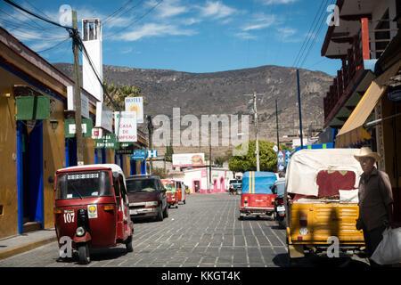 OAXACA, MEXICO - JANUARY 10, 2015: Main Street IN SMALL TOWN OUTSIDE OAXACA. - Stock Photo