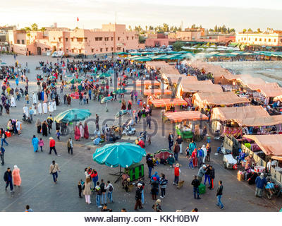 Morocco, Marrakech-Safi (Marrakesh-Tensift-El Haouz) region, Marrakesh. Food stalls on Jamaa El-Fna square. - Stock Photo