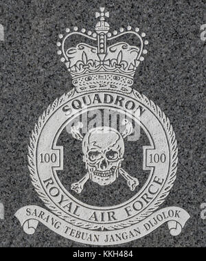 RAF and Royal Canadian Air Force World War II memorial. In memory to the air crew of a Lancaster bomber which crashed - Stock Photo