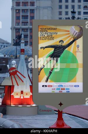 Moskau, Russland. 29th Nov, 2017. WM 2018 Logos und Plakate in Moskau. Feature/Schmuckbild/Hintergrund/Hintergrundbild. Fussball: Auslosung zur FIFA- Fussball Weltmeisterschaft 2018 in Moskau, Russland 01.12.2017 - Football, Draw for the FIFA- World Cup 2018, Moscow, December 01, 2017 |usage worldwide Credit: dpa/Alamy Live News