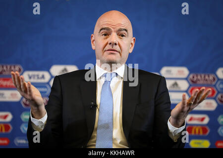 Moscow, Russia. 1st Dec, 2017. FIFA President Gianni Infantino speaks during a discussion round at the media centre of the Kreml Palace in Moscow, Russia, 1 December 2017. The eight groups for the start of the 2018 FIFA World Cup soccer tournament are drawn on Friday at the Kreml Palace. Credit: Christian Charisius/dpa/Alamy Live News Stock Photo