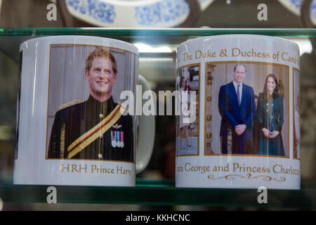 Windsor, UK. 1st Dec, 2017. Royal souvenirs in the window of a gift shop. Credit: Mark Kerrison/Alamy Live News - Stock Photo