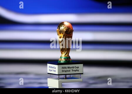 Moscow, Russia. 1st Dec, 2017. Winner's trophy at the Final Draw for 2018 FIFA World Cup at the State Kremlin Palace. Credit: Stanislav Krasilnikov/TASS/Alamy Live News Stock Photo