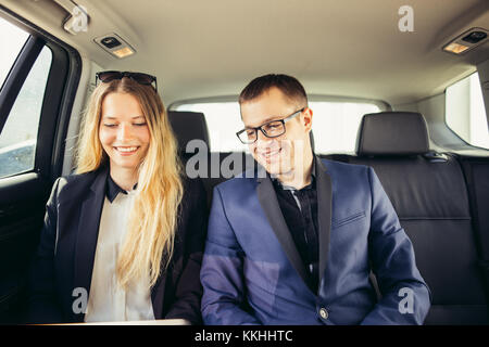 Business People Meeting Working Car Inside - Stock Photo