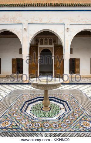 Morocco, Marrakech-Safi (Marrakesh-Tensift-El Haouz) region, Marrakesh. Tiled courtyard with fountain at Bahia Palace - Stock Photo