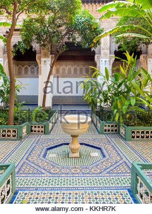 Morocco, Marrakech-Safi (Marrakesh-Tensift-El Haouz) region, Marrakesh. Courtyard gardens at Bahia Palace (Palais - Stock Photo