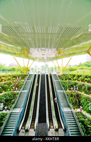 Kaohsiung, Taiwan - May 13, 2016: View of the modern metro station in Kaohsiung, Taiwan on May 13, 2016. - Stock Photo