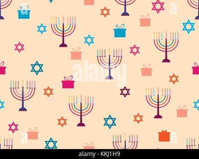 Hanukkah seamless pattern with candlesticks, stars and gifts. Celebratory background. Vector illustration - Stock Photo