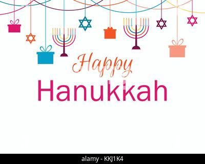 Happy Hanukkah greeting card. Candlestick with nine candles. Garland with hanging gifts. Vector illustration - Stock Photo