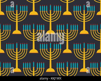 Hanukkah seamless pattern candlestick with nine candles. Vector illustration - Stock Photo