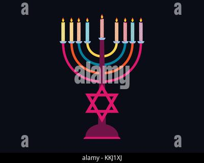 Happy Chanukah. Candlestick with nine candles of different colors. Six-pointed star. Vector illustration - Stock Photo