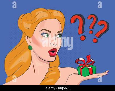 Woman with Gift. Excited Woman with Present on Her Hand - Stock Photo