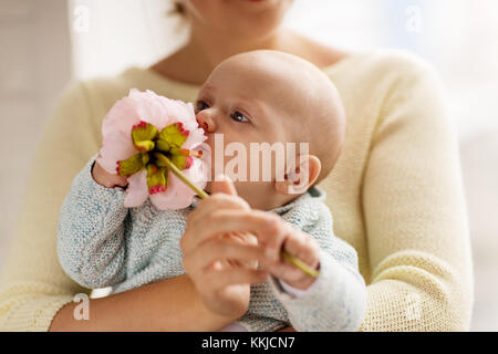 close up of mother and little baby boy with flower - Stock Photo