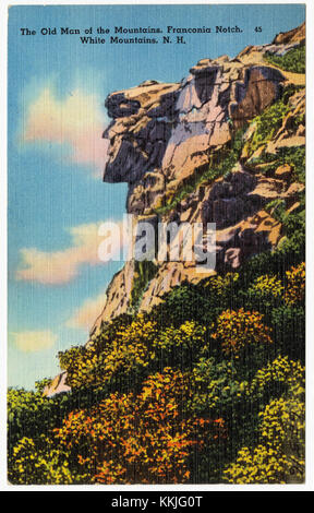 The old Man of the Mountains, Franconia Notch. White Mountains, N.H (62516) - Stock Photo