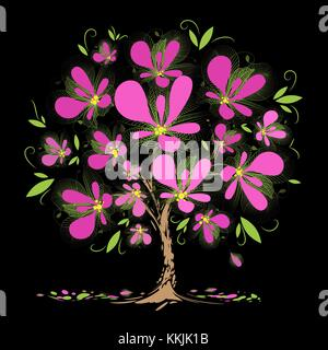 Art blossoming tree with pink flowers on black background - Stock Photo