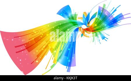 Abstract colorful geometric floral composition on white background - Stock Photo