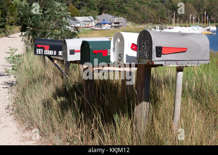 Mailboxes along Areys Lane in Orleans, Massachusetts on Cape Cod. - Stock Photo