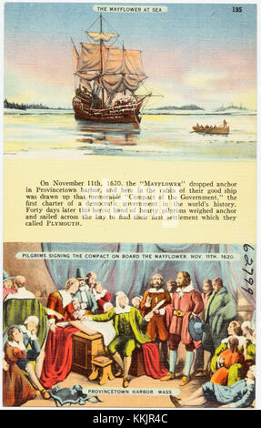 Pilgrims Signing The Mayflower Compact 1620 Hand Colored Woodcut