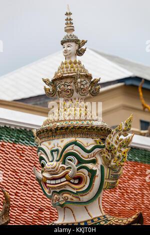 Bangkok, Thailand.  Demon Guardian (Yaksha) in the Royal Grand Palace Grounds. - Stock Photo