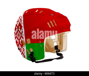 Ice hockey helmet with flag of Belarus painted on it. Isolated on white background. Belarus is one of the world's - Stock Photo