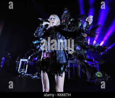 MIAMI BEACH, FL - NOVEMBER 02: Emily Haines of Metric performs at The Fillmore on November 2, 2015 in Miami Beach, - Stock Photo