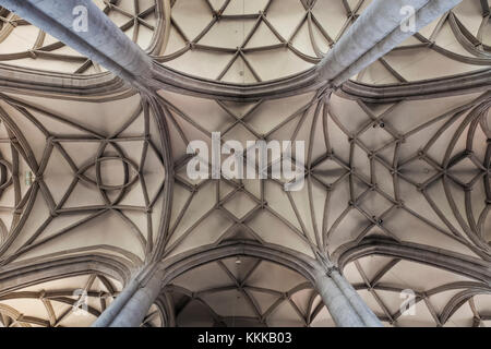 Germany, Bavaria, Romantic Road, Nordlingen, St.George's Church, Detail of The Vaulted Ceiling - Stock Photo
