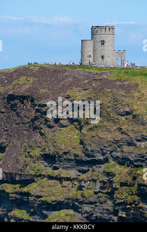 Cliffs of Moher and O'Brien's Tower, County Clare, Ireland - Stock Photo