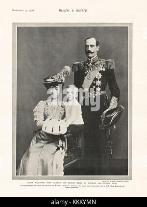 1906 Black & White King Haakon of Norway with Queen Maud and Prince Olaf - Stock Photo
