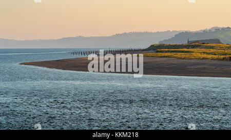 Evening mood at Dawlish Warren and the river Exe. Seen from Exmouth, Devon, England, UK - Stock Photo