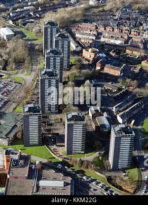 aerial view of Rochdale 7 tower blocks, UK - Stock Photo