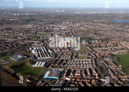aerial view of Whiston in Lancashire, UK - Stock Photo