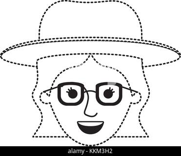 female face with hat and glasses and short wavy hair in black dotted silhouette - Stock Photo