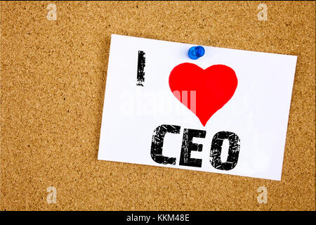 Hand writing text caption inspiration showing I Love CEO concept meaning Operating Leader Business Executive President - Stock Photo