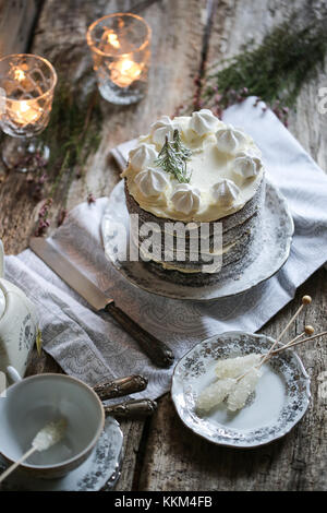 Hummingbird cake winter edition with dates and candied ginger. - Stock Photo