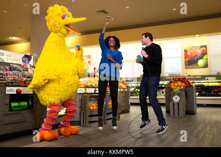 First Lady Michelle Obama participates in a 'Let's Move!' Funny or Die game show taping with Billy Eichner of Billy - Stock Photo