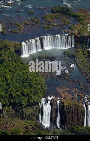 Argentinian side of Iguazu Falls, on Brazil - Argentina Border, South America - aerial - Stock Photo