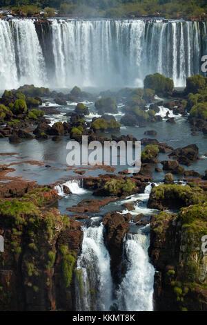 Salto Rivadavia and Salto Tres Musqueteros, Iguazu Falls, Argentina, seen from Brazil side, South America - Stock Photo