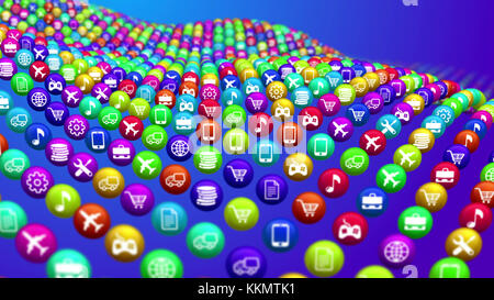 An avant-garde 3d illustration of curvy colorful social mass media surface from balls placed in the blue background - Stock Photo