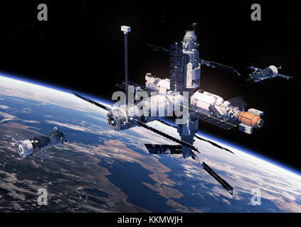 Two Spacecraft Is Preparing To Dock With Space Station. 3D Illustration. - Stock Photo