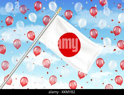 japan flag on sky with red and white balloons - Stock Photo