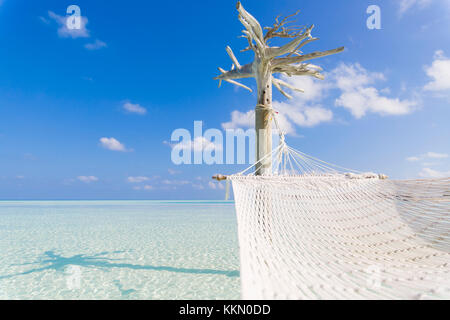 Hammock hold by white tree in a shallow and clear sea. - Stock Photo