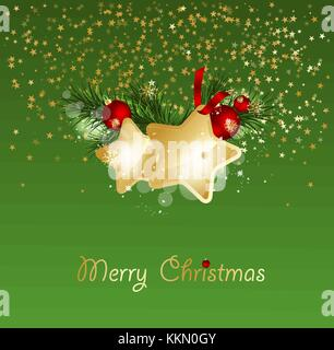 Christmas background with fir branches and gold stars with decorations. Vector illustration eps 10 - Stock Photo