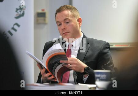 Chris Hazzard MP at the launch of Sinn Fein legal advice which outlines the case for Northern Ireland to be granted - Stock Photo