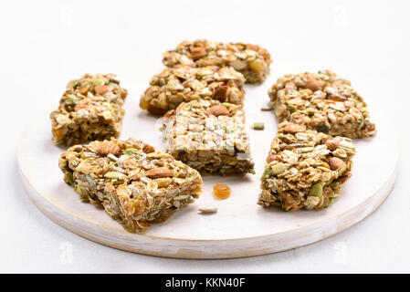 Cereal granola bar. Healthy snack, close up view - Stock Photo